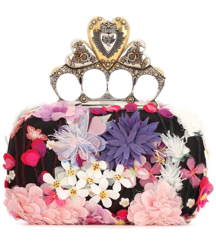 Embroidered Heart Knuckle Box Clutch - Alexander McQueen | mytheresa