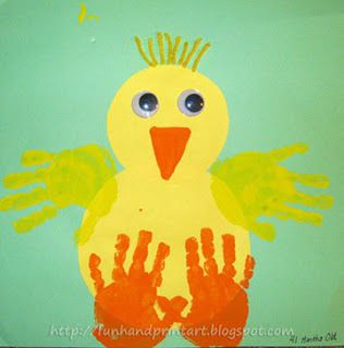 Handprint Baby Chick Craft, have kids cut and design their own chick. Extension activity could be to write a story about their chicks