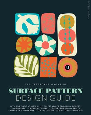 The UPPERCASE Magazine Surface Pattern Design Guide, first edition cover by Jan Avellanawho went on to have her own fabric collection with Windham as a result.