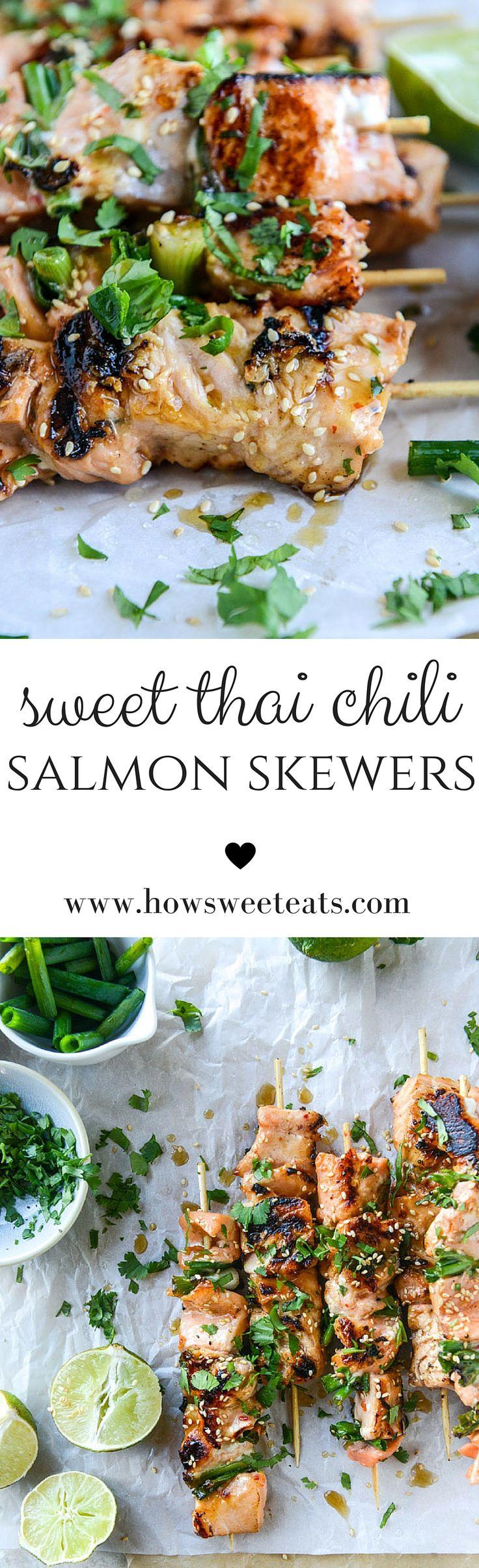 30 minutes sweet thai chili salmon skewers I howsweeteats.com