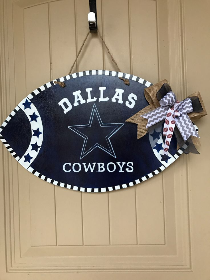 Dallas Cowboys Wood Football Door Hanger/ Sign - Man Cave Wood Decor- Coach Gifts- Man Cave Dallas Cowboys Football Sign by ShuffysSawdust on Etsy https://www.etsy.com/listing/472465724/dallas-cowboys-wood-football-door-hanger