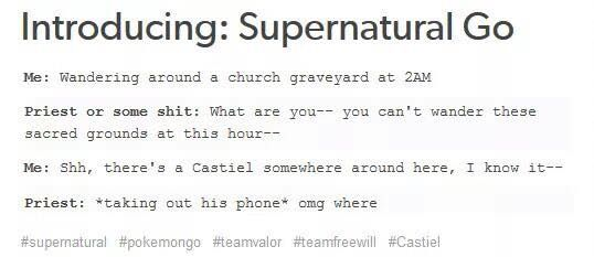 Supernatural Go. This needs to happen! I want a Castiel!!