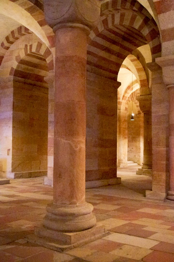 The Romanesque architecture of the Cript in the Speyer Cathedral - Germany - Visit roadtripsaroundtheworld.com to learn more