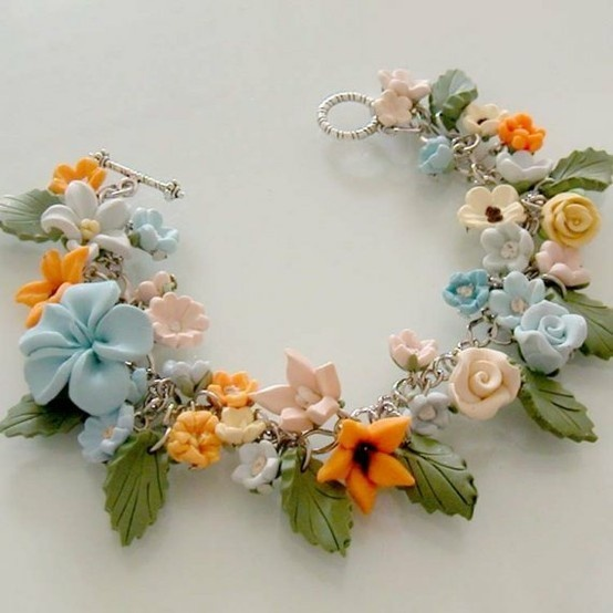 polymer clay: Clay Polymer, Polymer Clay Jewelry, Flower Necklaces, Polymer Clay Charms, Polymer Flower, Charms Bracelets, Polymer Clay Bracelet, Crafts, Polymer Clay Flower