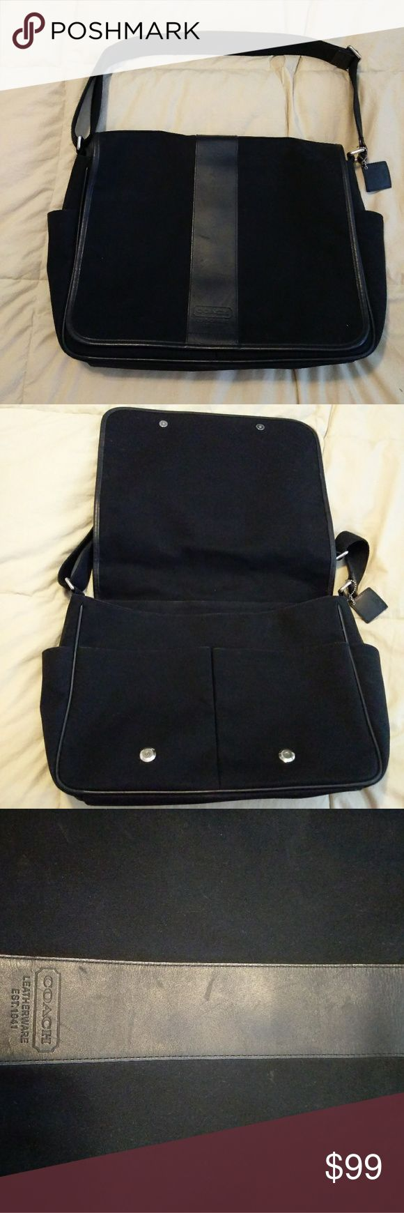 Coach messenger bag Great condition coach bag, can be used as a laptop bag, diaper bag, man bag. Small scratches on leather strip. Overall a great bag. Coach Bags