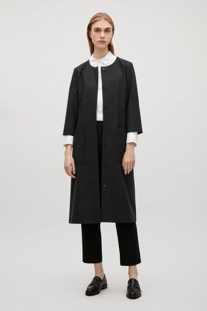 COS image 5 of Belted wool dress in Black
