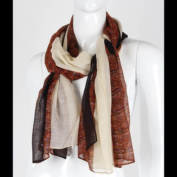Absolutely gorgeous delicate brown beige scarf new Cream brown dark chocolate brown scarf 68 by 32 inches 100 % polyester Accessories Scarves & Wraps