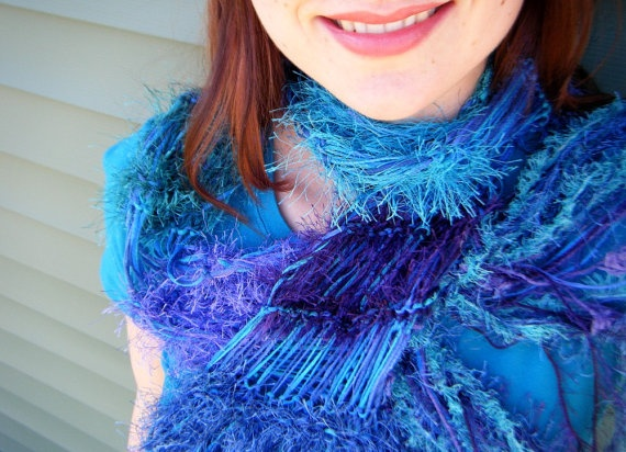 Blue, Teal, Purple Scarf with Turquoise. Furry Sparkle Fringe. Hand Knit, Lightweight Striped Boa Judy Baker