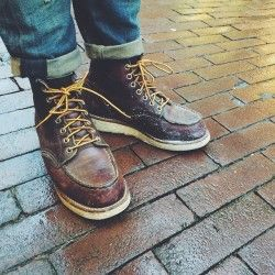 """What do you need during these rainy days? A proper pair of Red Wing Shoes! Currently these 8138 6"""" Classic Moc Toe's in Briar Oil Slick are doing a perfect job being water resistant and comfy! 