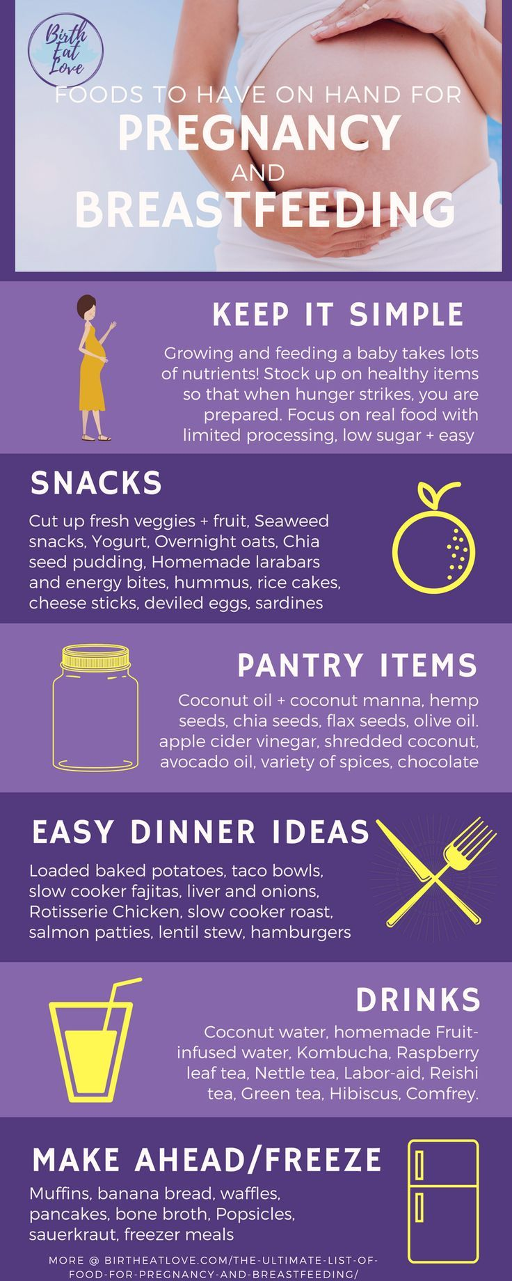 One of the most important, yet maybe most overlooked, areas of childbirth preparation is getting your fridge and pantry stocked with healthy foods to eat in the days leading up to birth, during labor and after baby arrives. Use this list of the best foods to eat during pregnancy and breastfeeding for ideas and recipe inspiration. Clean, real food ideas, low sugar and mostly gluten free. Healthy pregnancy and successful breastfeeding depend on a good nutrient supply. Eat up!