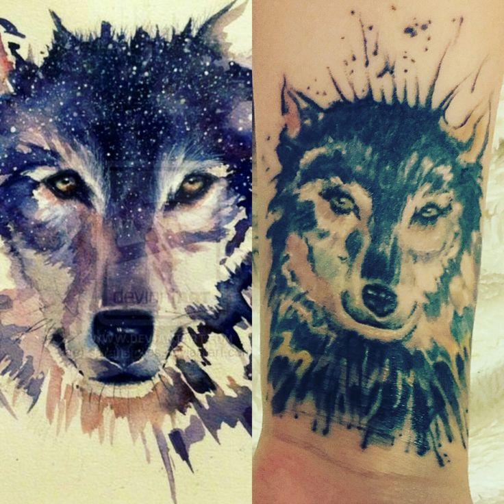 tattoo wolf , watercolor, aquarelle,