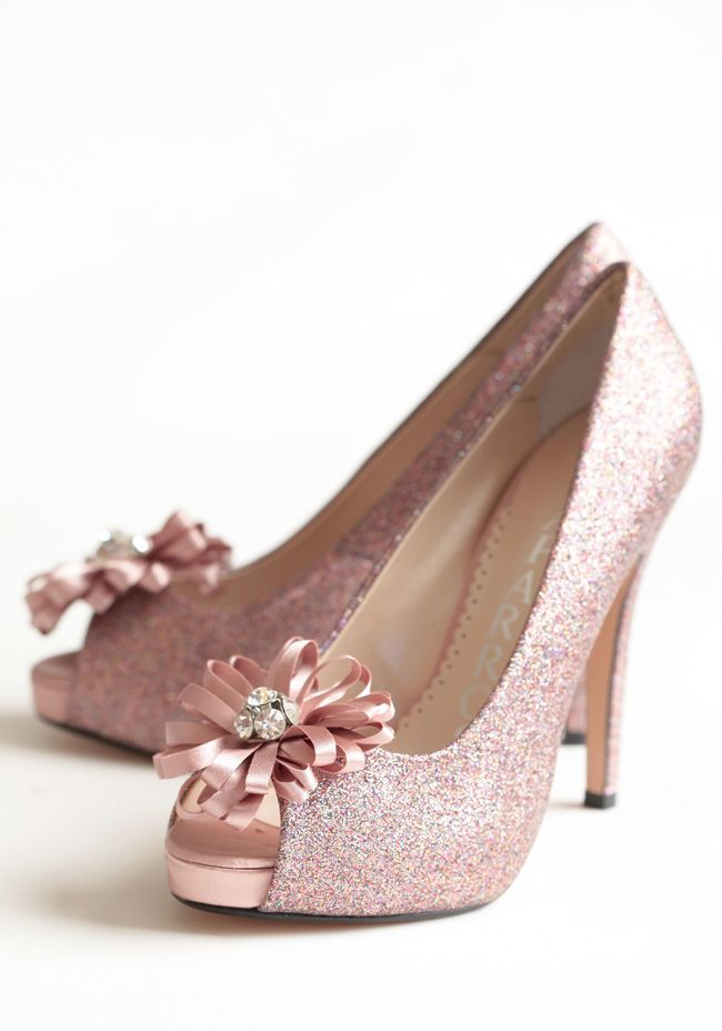 These Flower Topped Heels Are Glowing In A Dusty Rose Colored Satin With Light Catc Fit For Princess Shoes