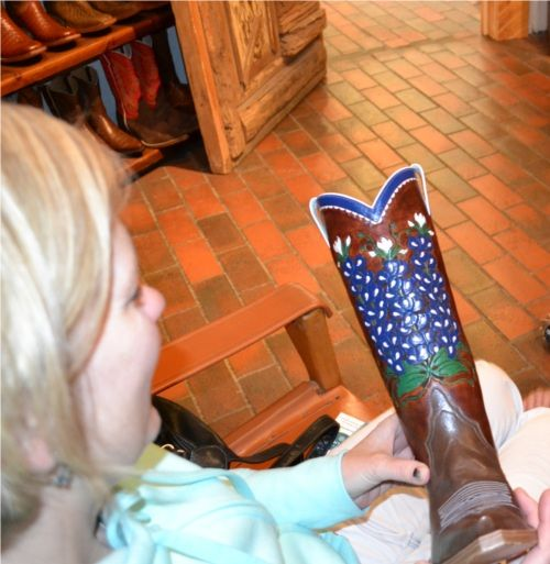 Hand Tooled Custom Cowboy Boots Blue Bonnets. http://santafeselection.com/blog/2013/05/02/cowboy-boots-theres-a-trend-on-the-rise/