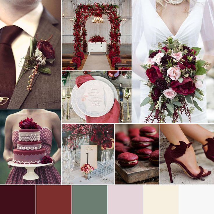 Marsala Wine Burgundy Sage Olive Green Blush Fall Winter Wedding Color  Palette by Go! Bespoke