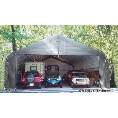 ShelterLogic 30Ft.W Peak Style Instant Garage - 48ft.L x 30ft.W x 16ft.H, Model# 86743 by ShelterLogic. $5999.99. Instant frame design allows you to erect the building within hours. Ratchet Tite tension system and Easy-Glide sliding cross rails keep the cover smooth and taut. Bolt-together hardware at every connection point ensures maximum strength and durability. Patent-pending ShelterLock stabilizer block at every rib connection adds rock-solid strength and st...