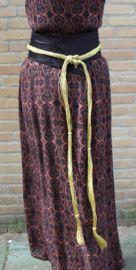 Maroccaanse taille ceintuur ZWART met GOUD DRAAD, versierd met sierknopen / gevlochten - Moroccan waist belt BLACK, GOLD thread braided decorated