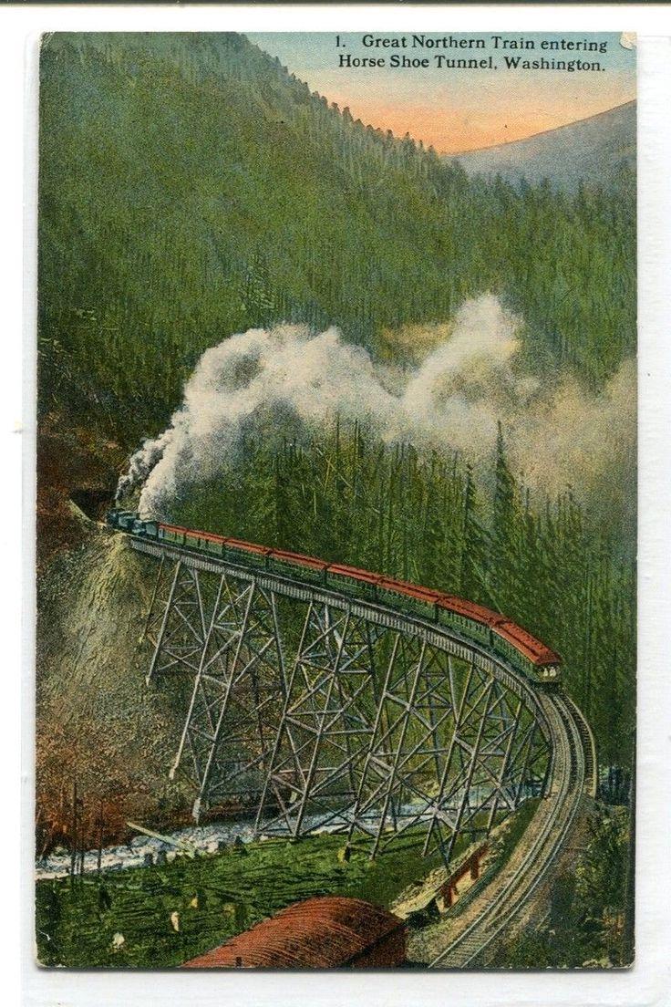 Great Northern Railroad Train Trestle Bridge Horse Shoe Tunnel WA 1910c postcard
