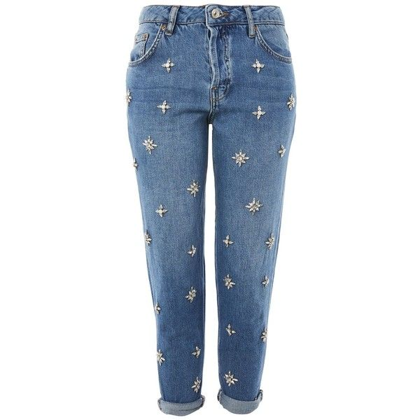 Topshop Moto Embellished Boyfriend Jeans ($84) ❤ liked on Polyvore featuring jeans, pantalon, pants, topshop, blue, embellished boyfriend jeans, blue jeans, embellish jeans, relaxed fit jeans and relaxed jeans