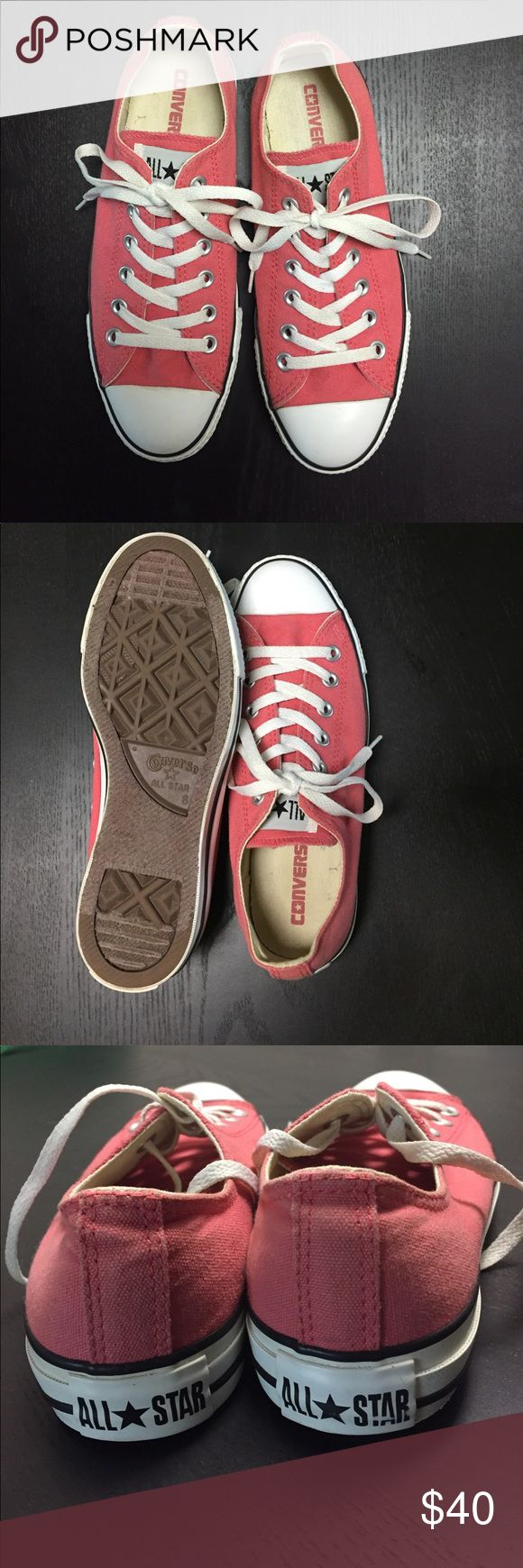 NEW Coral Converse All Stars - Size 8 (men's 6) Coral converse! I've worn these twice, both times indoors, and then they've sat in my closet longing to be worn. Size 8 women's, 6 men's, 39 EU. Check my closet out, I'm open to bundling! Would considering trading for a pair of white converse. Thanks! 🌻BUY THREE, GET FREE SHIPPING • BUY TWO, CUSTOM DISCOUNT🌻 Converse Shoes Sneakers