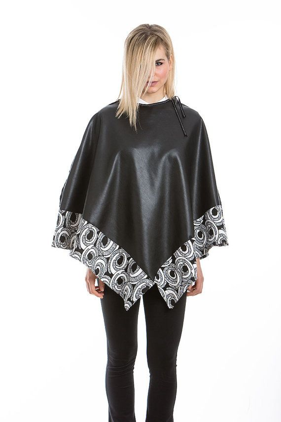 Poncho With Black Faux Leather by madecoutureeu on Etsy