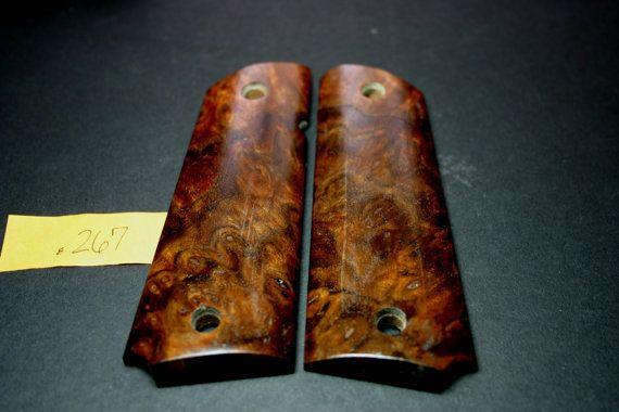 Fit 1911 Grips CLARO WALNUT BURL wood Factory Style by 206grips