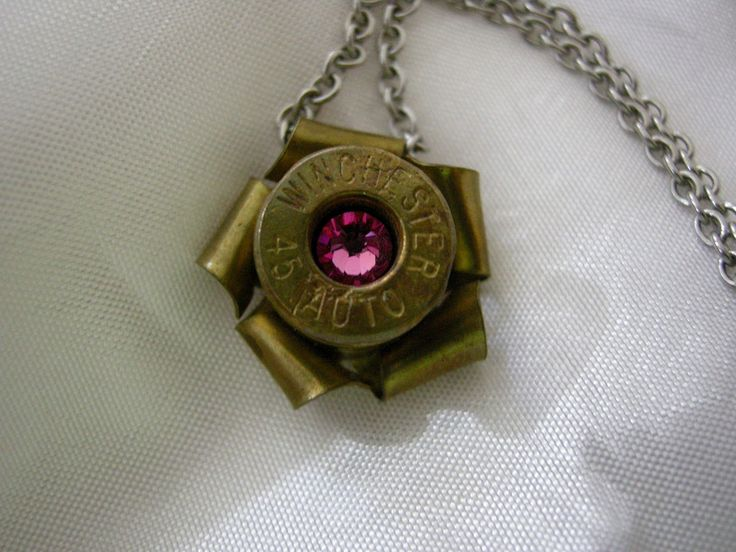 Winchester 45 Automatic Brass Pink Swarovski Crystal Necklace Bullet casing jewelry by CavalierDreams on Etsy
