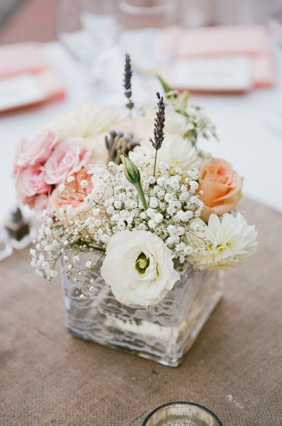 Like all except the square vase. Romantic Rustic Pink White Centerpiece Summer Wedding Flowers Photos & Pictures - WeddingWire.com