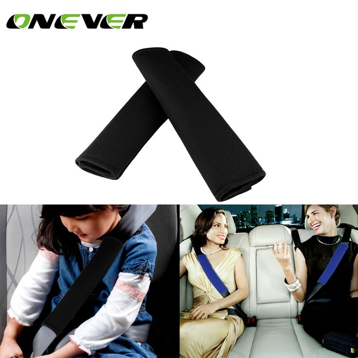 Onever 2pcs Car Seat Belt Shoulder Strap Pad Black And Blue Cover Children Soft Protection