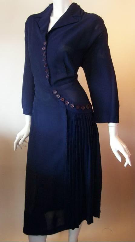 1940's Crepe Rayon Dress: