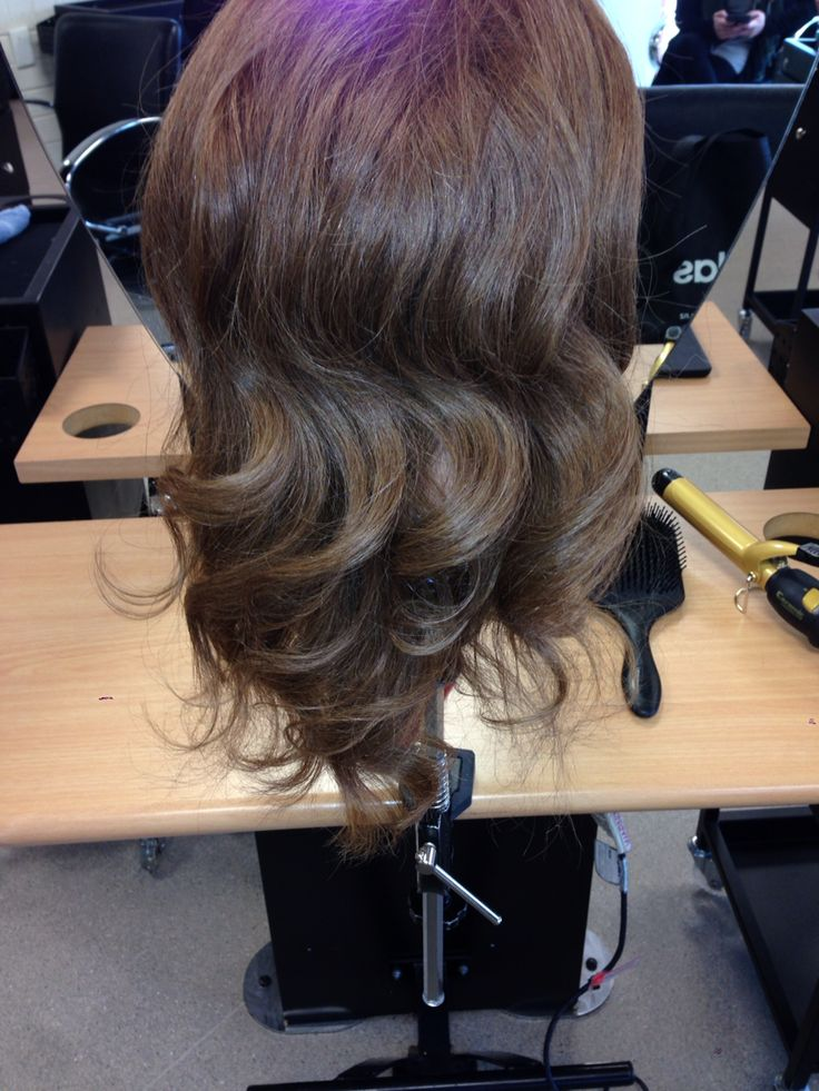 Back view of Hollywood curls