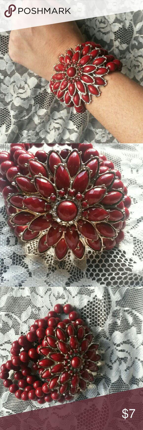 Selling this Red Beaded Bracelet on Poshmark! My username is: sablee77. #shopmycloset #poshmark #fashion #shopping #style #forsale #Jewelry