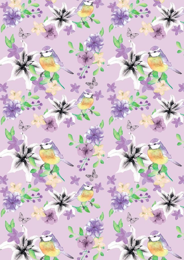 FF165-2 Blue Tit Floral on Lavender