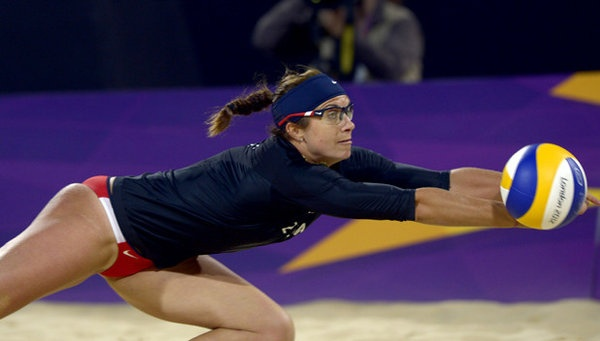 Misty May-Treanor and Kerri Walsh win beach volleyball match. Misty May-Treanor in action in an opening-round match.
