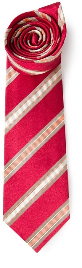 White and Red Vertical Striped Tie by Kiton. Buy for $75 from farfetch.com