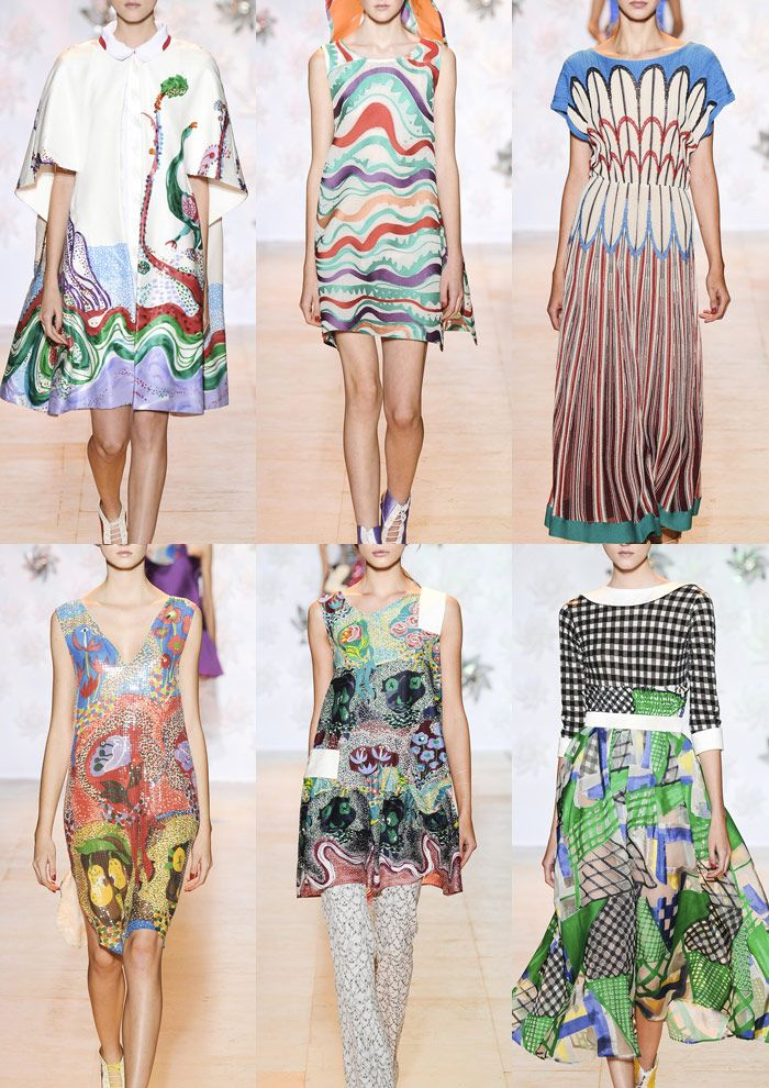 Tsumori Chisato S/S 15 Whimsical Painted Illustrations – Handsome Peacocks – Fantasy Florals – Naive Drawings – Unsteady Hand Qualities