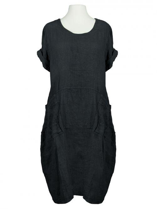 Damen Kleid Leinen Halbarm, schwarz von Spaziodonna bei www.meinkleidchen.de