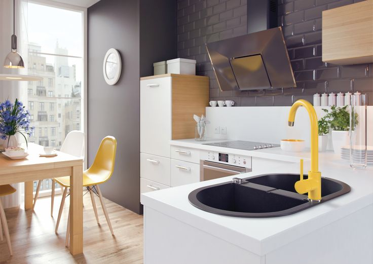 Kitchen with yellow mixer, Deante.