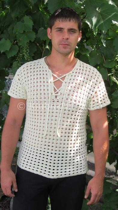 Мужская рубашка на лето   Вязание крючком   Вязание спицами и крючком. Схемы вязания.