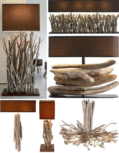drifwood lamps and lighting http://dornob.com/driftwood-decor-24-dramatic-art-lamps-lighting-designs/#axzz34s4jKqQh