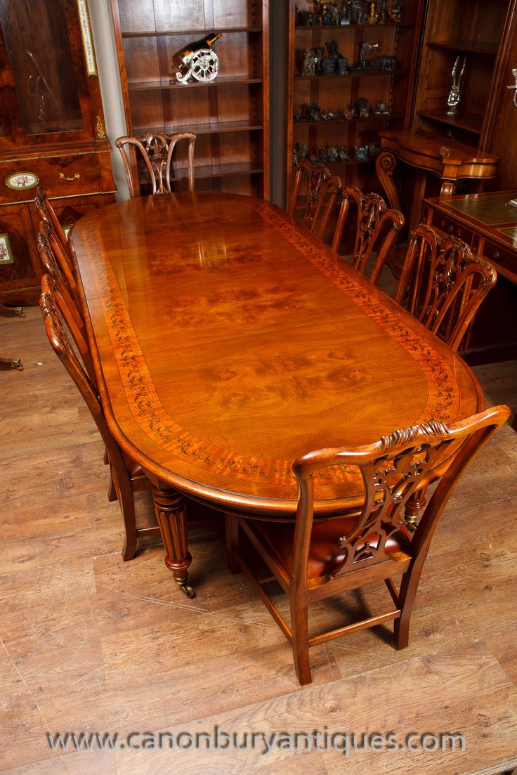 http://canonburyantiques.com/s/dining-tables/victorian-dining-tables/1/  Walnut Victorian dining table with set of matching Chippendale chairs. Exquisite table and chair set. Large range of other Victorian tables available..