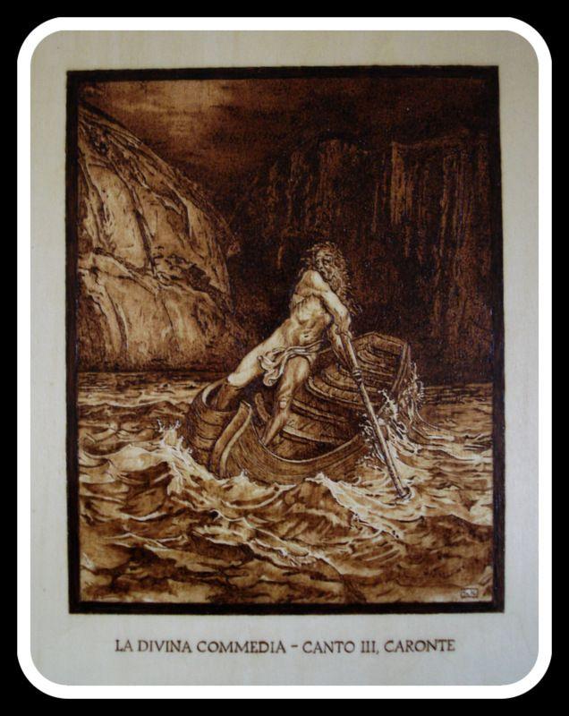 """""""#caronte"""", #Illustrazione #Inferno di #Dante di Simone Naldini #artigianato #pirografia http://omaventiquaranta.blogspot.it/2013/11/linferno-dantesco-di-simone-naldini.htm"""