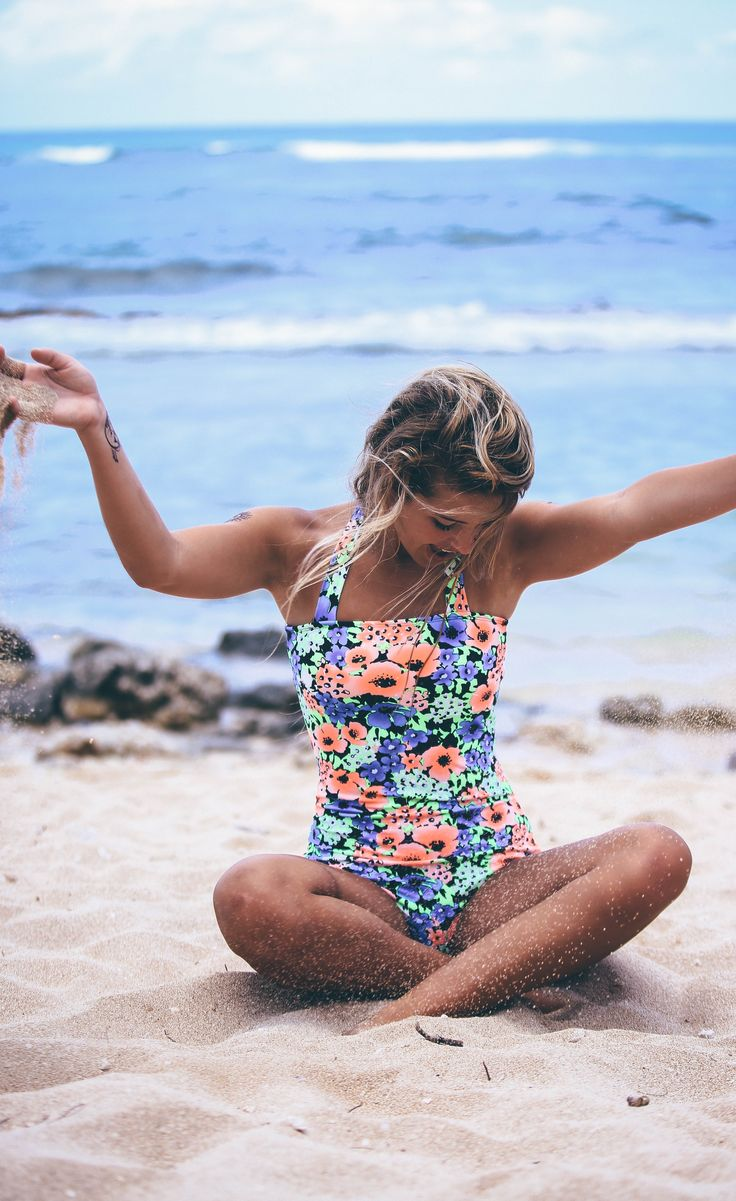 One piece swimsuit floral for teens. Modest swimsuits that are flattering on all woman body types.