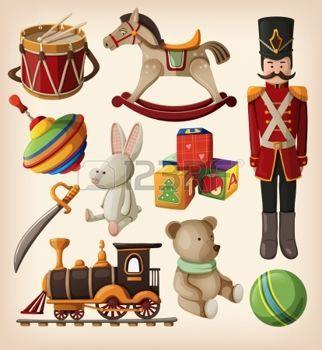vintage enfants: Set de jouets colorés de Noël vintage pour enfants. Illustration