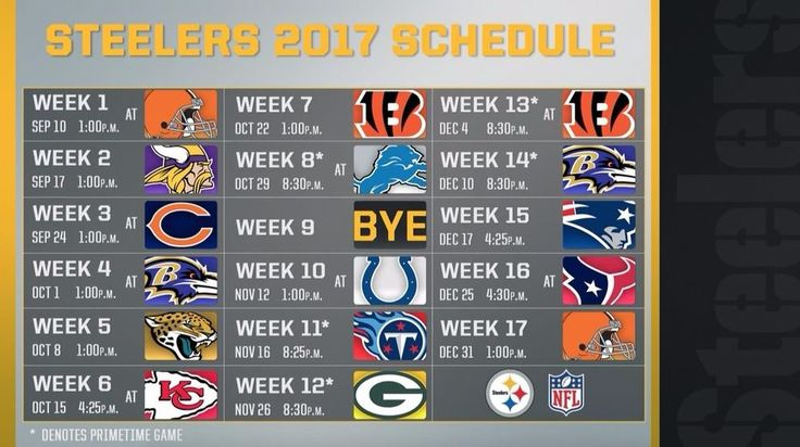 """2017-18 PITTSBURGH STEELERS NFL FOOTBALL SCHEDULE FRIDGE MAGNET (LARGE 6.5""""X4"""") 
