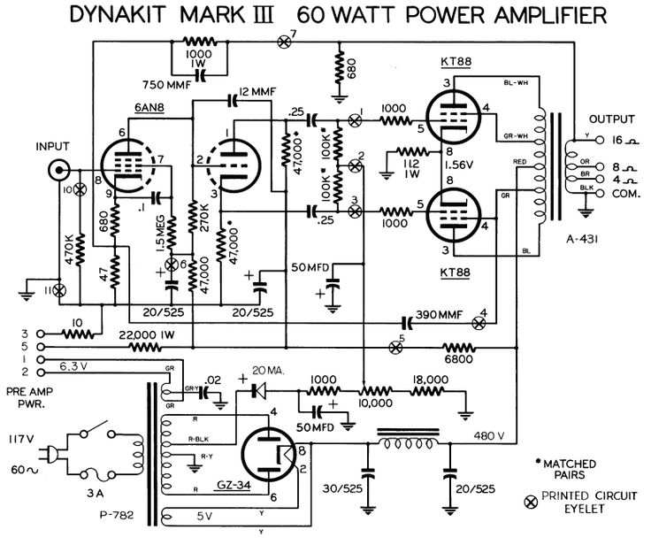 dynaco dynakit mark iii tube amplifier schematic