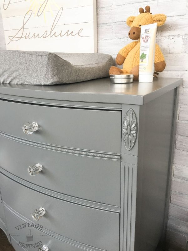 grey painted changing table