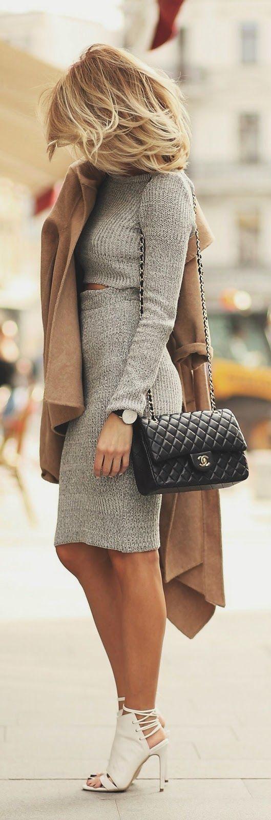 Two piece mid length skirt dress grey crop sweater dress