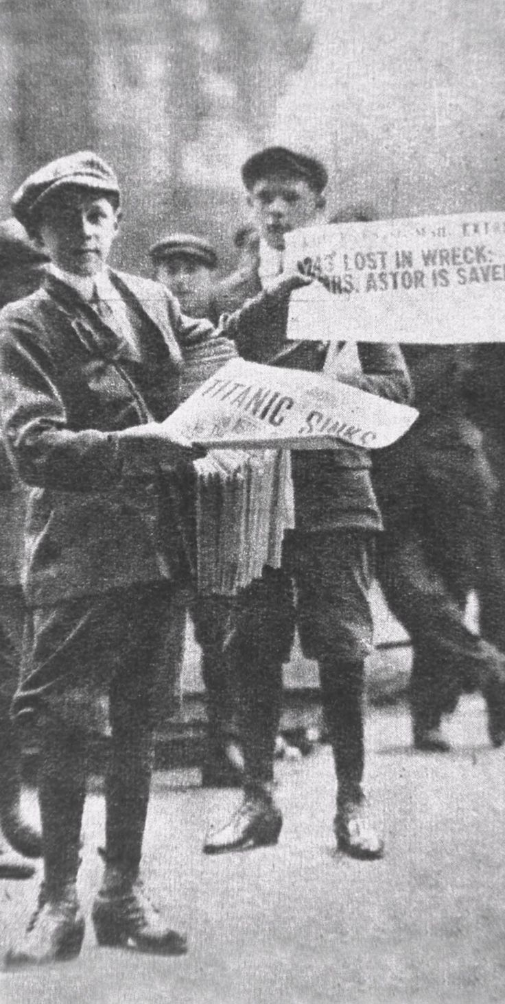A newsboy with the newspaper bearing the headline of Titanic's sinking.