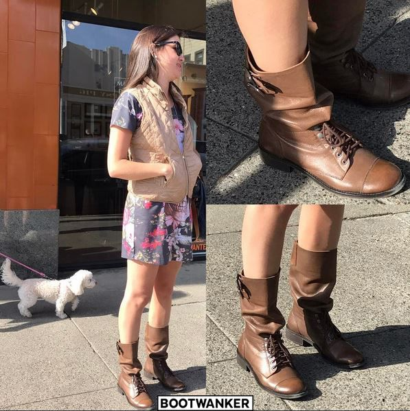 Beautiful Brazilian woman strolling along on a sunny afternoon in San Francisco in her Boots. Nothing wrong with smiling, laughing and just having happiness in your heart!