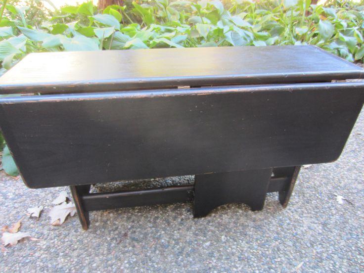 LOCAL PICKUP ONLY/ Vintage Primitive Rustic Black Drop Leaf Coffee Table/ Vintage Table/ Black Furniture/ Farmhouse Table/ Apt. Decor by GwenAndAlmas on Etsy